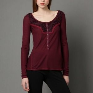 Free People Burgundy Diego Henley Thermal